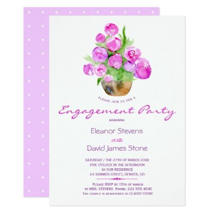 watercolor violet pink rustic engagement party invitation various
