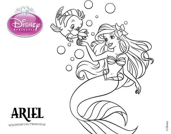 Ariel La Sirenita Para Colorear Para Dibujos De La: Ariel Y Flounder Para Colorear