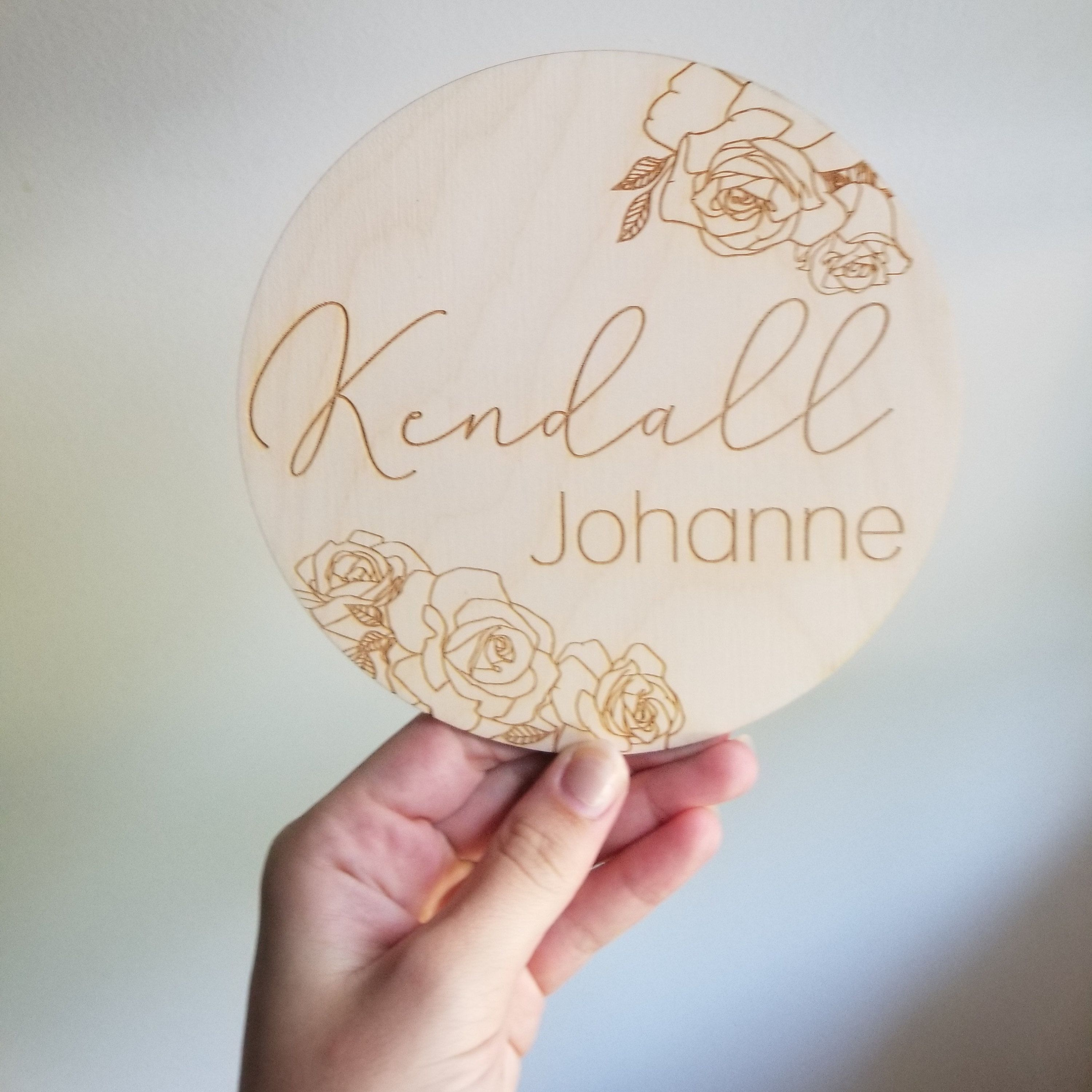 Baby Name Sign Engraved Wooden Name Sign Name Announcement Plaque Rose Nursery Decor Newborn Photo Prop Baby Shower Gift Wooden Name Signs Baby Name Signs Name Signs