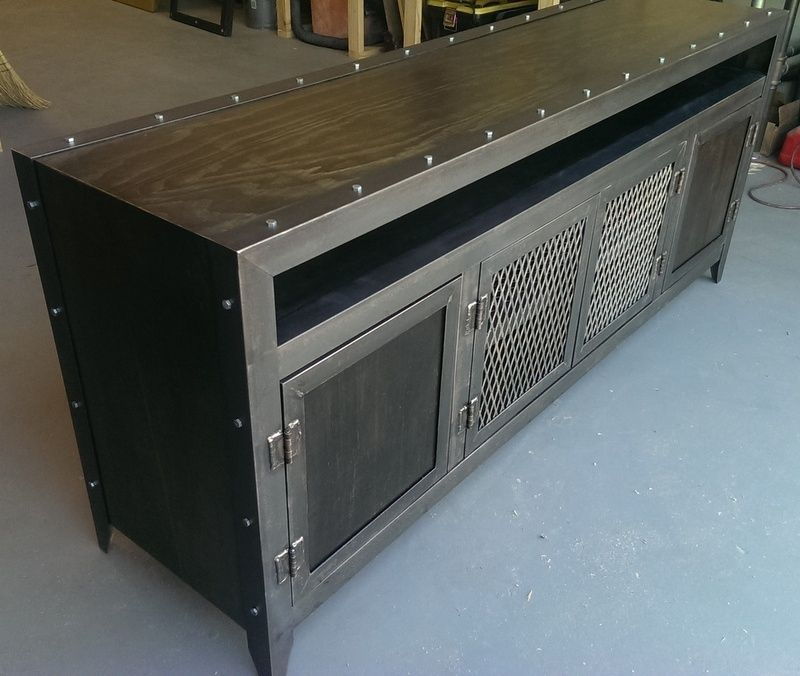 Custom Made Industrial Media Console   $1450 Potentially For Media Room    Custom Sizes Avail