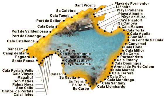 mallorca strände karte Die Strand Karte für Mallorca | Travel in 2018 | Pinterest  mallorca strände karte