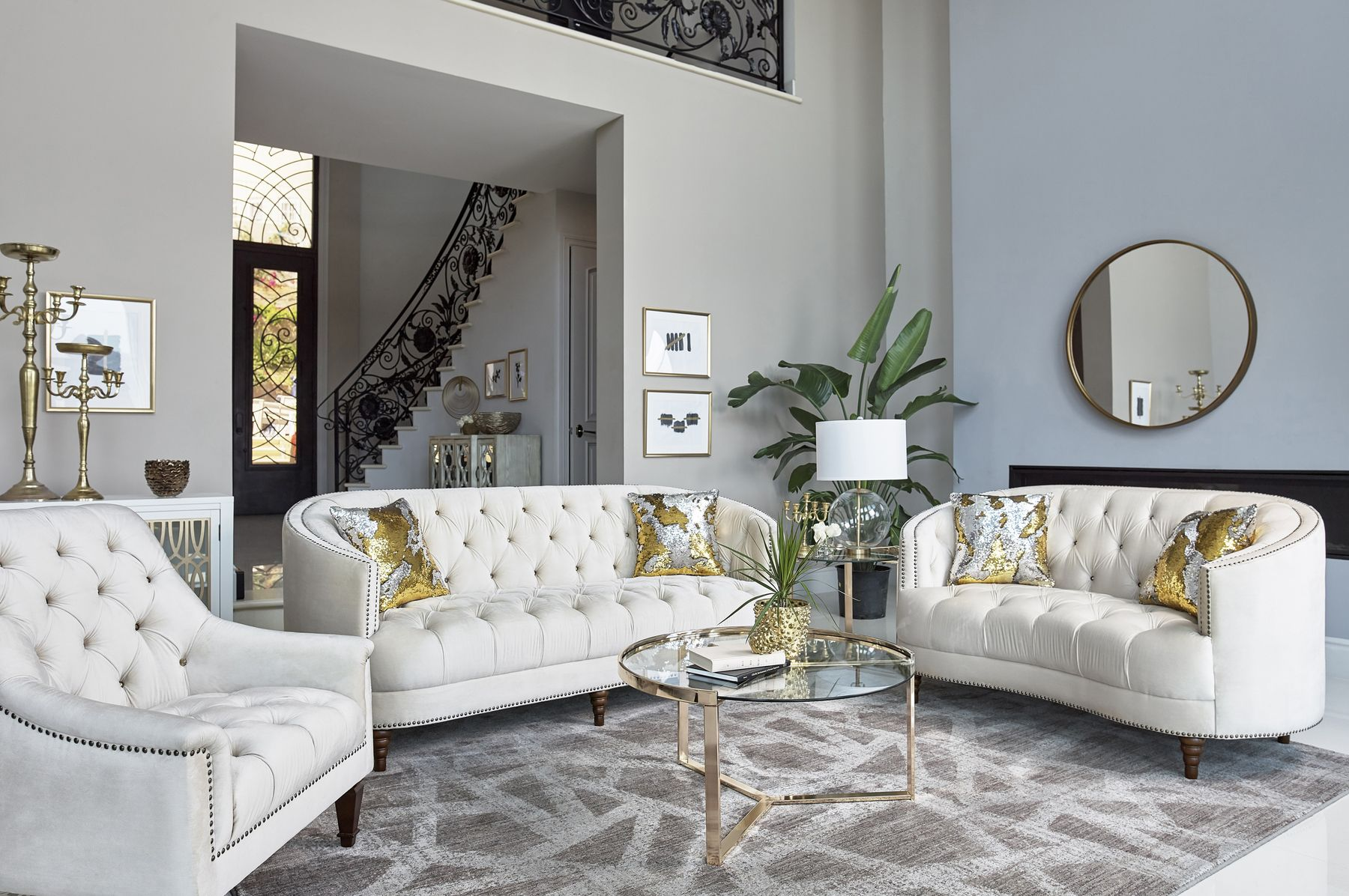 Avonlea Off White Sofa 509161 930251 Lenum Coaster Furniture Fabric Sofas White Sofa Living Room Glam Living Room White Living Room Decor