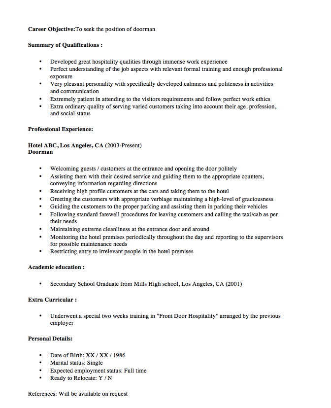 this example new doorman resume sample 2016 we will give you a refence start on building resumeyou can optimized this example resume on creating resume for