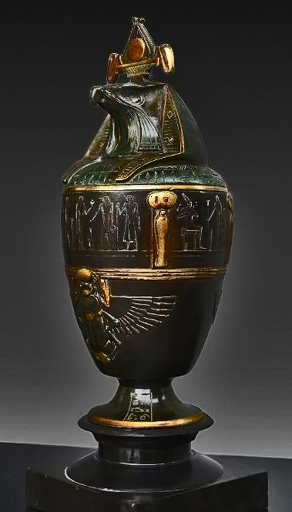 French Egyptian Revival Canopic Jar With Horus Lid 1920s Art