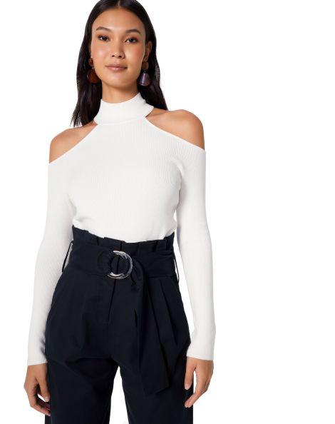 Amaro Feminino Blusa Ombros Gola Alta Branco In 2020 Fashion
