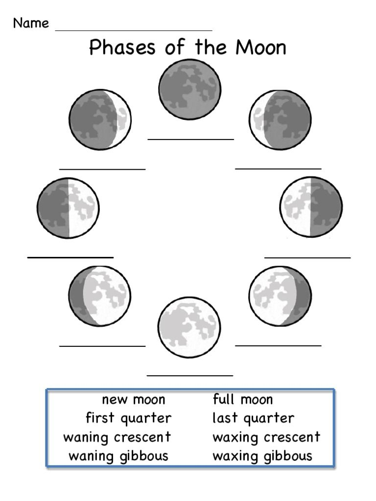 This is a worksheet to show the phases of the moon.   Moon phases [ 1024 x 768 Pixel ]