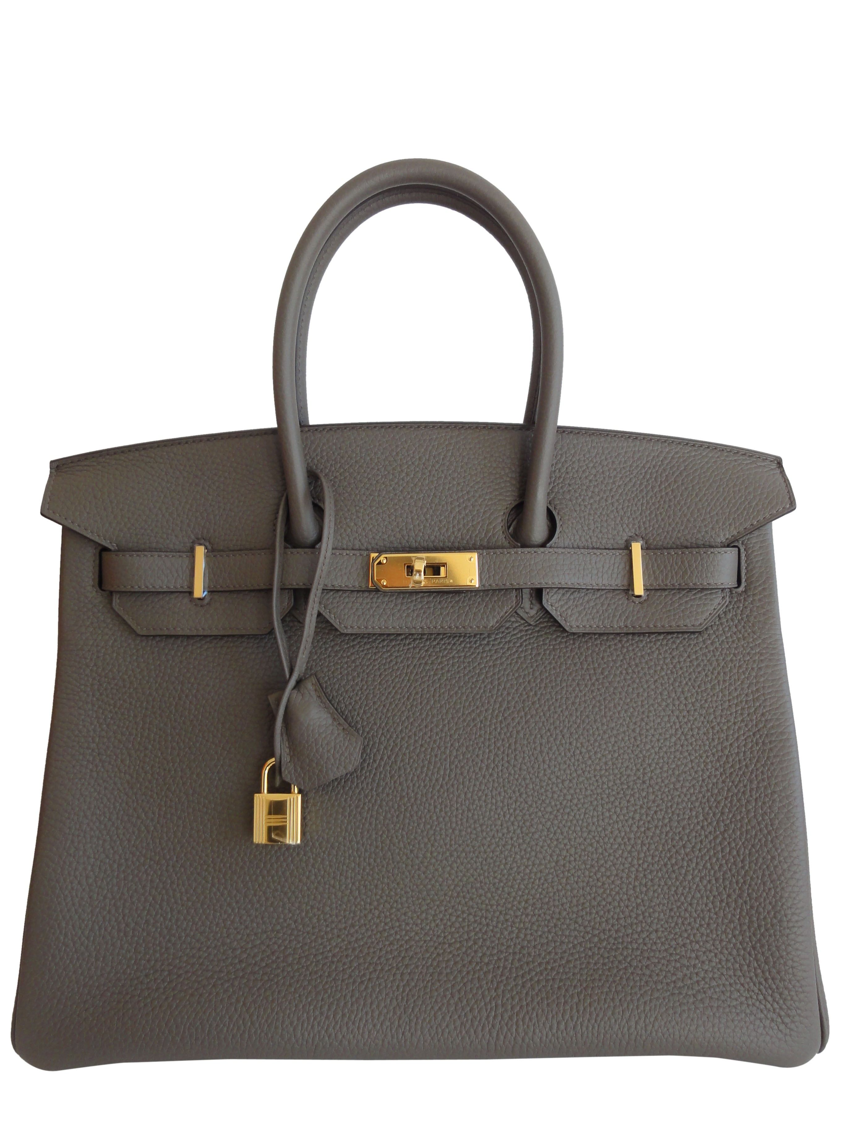 0f916221935 Hermes Etain Grey Leather 35cm Birkin Bag with Gold Hardware - HERMES  Pristine Condition 35cm Birkin ETAIN is a beautiful Dove Grey T stamp Love  this color ...