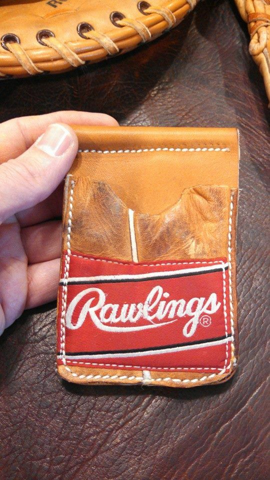 Baseball glove leather wallet made by hand just like an