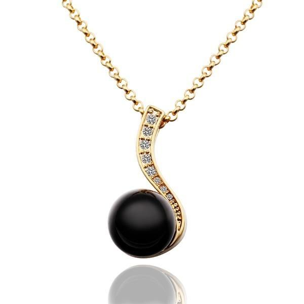 Gold Plated Spiral Onyx Drop Necklace, Women's