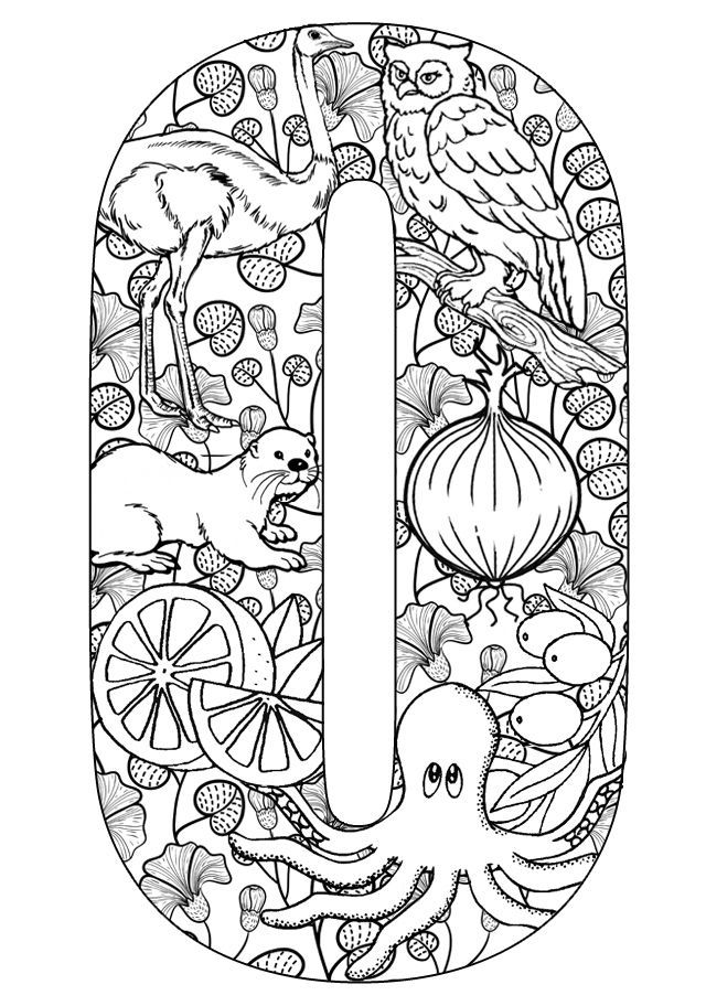 Things That Start With O Free Printable Coloring Pages Grown Up