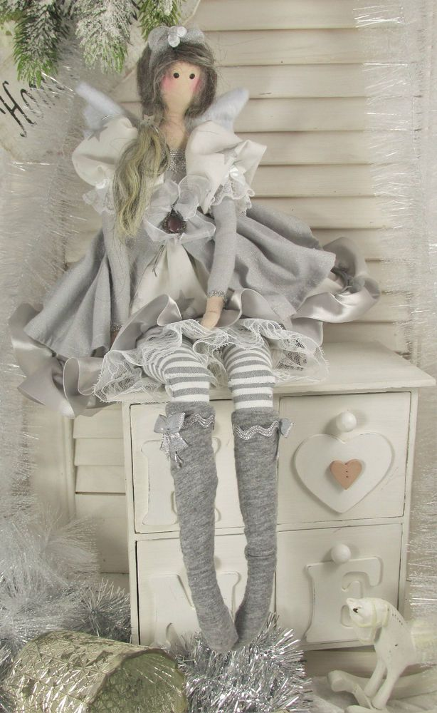 engel angel puppe zu winter sterne stars tilda shabby chic winter landhaus grau in m bel. Black Bedroom Furniture Sets. Home Design Ideas