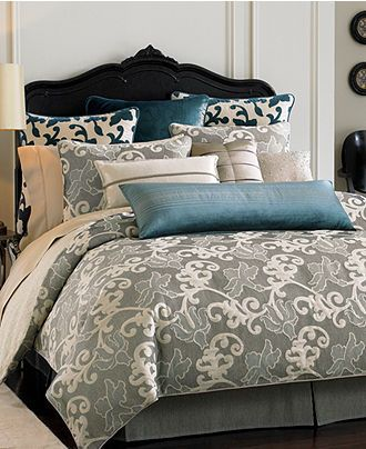 Waterford Bedding Ophelia Collection Grey Taupe And Teal Macy S White Wall Bedroom