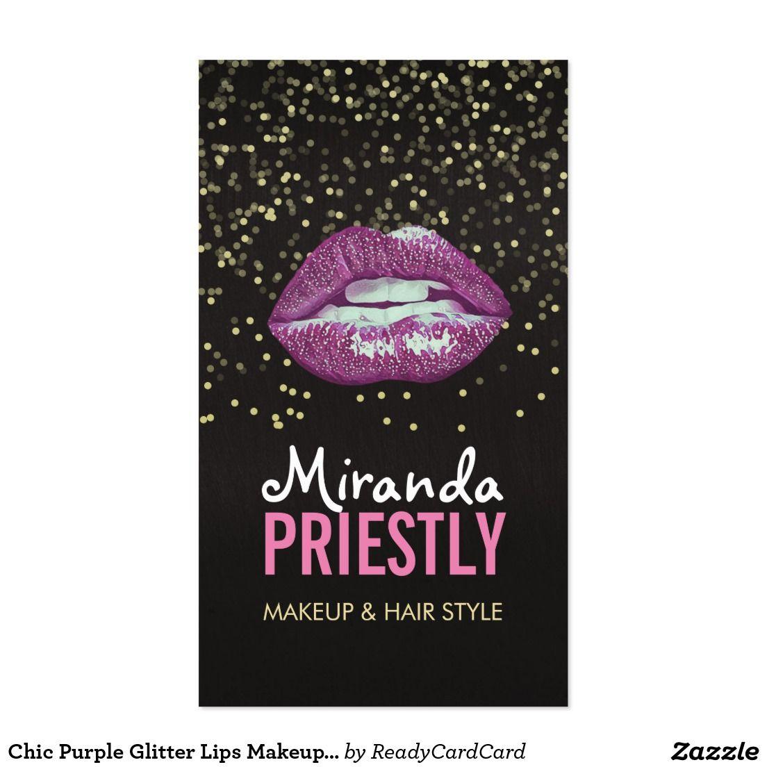Chic Purple Glitter Lips Makeup Artist Appointment Glitter Lips