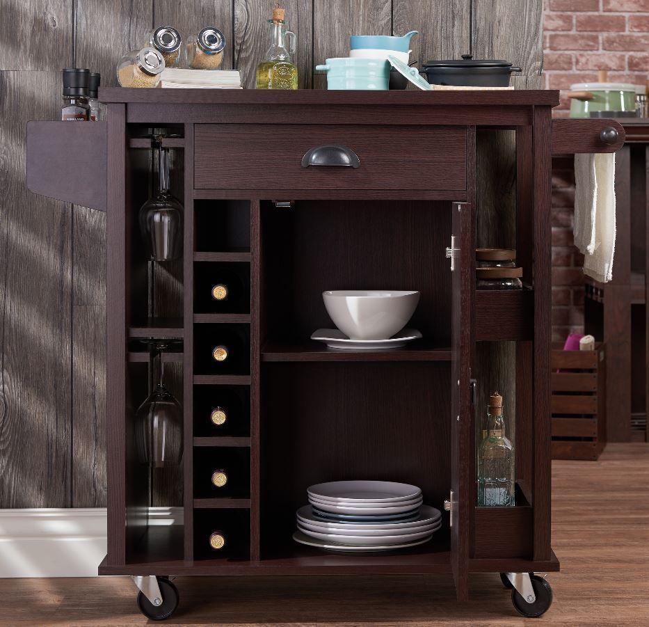 Rustic Wine Cart Pub Bar Server Liquor Storage Kitchen Shelves Cabinet Sideboard