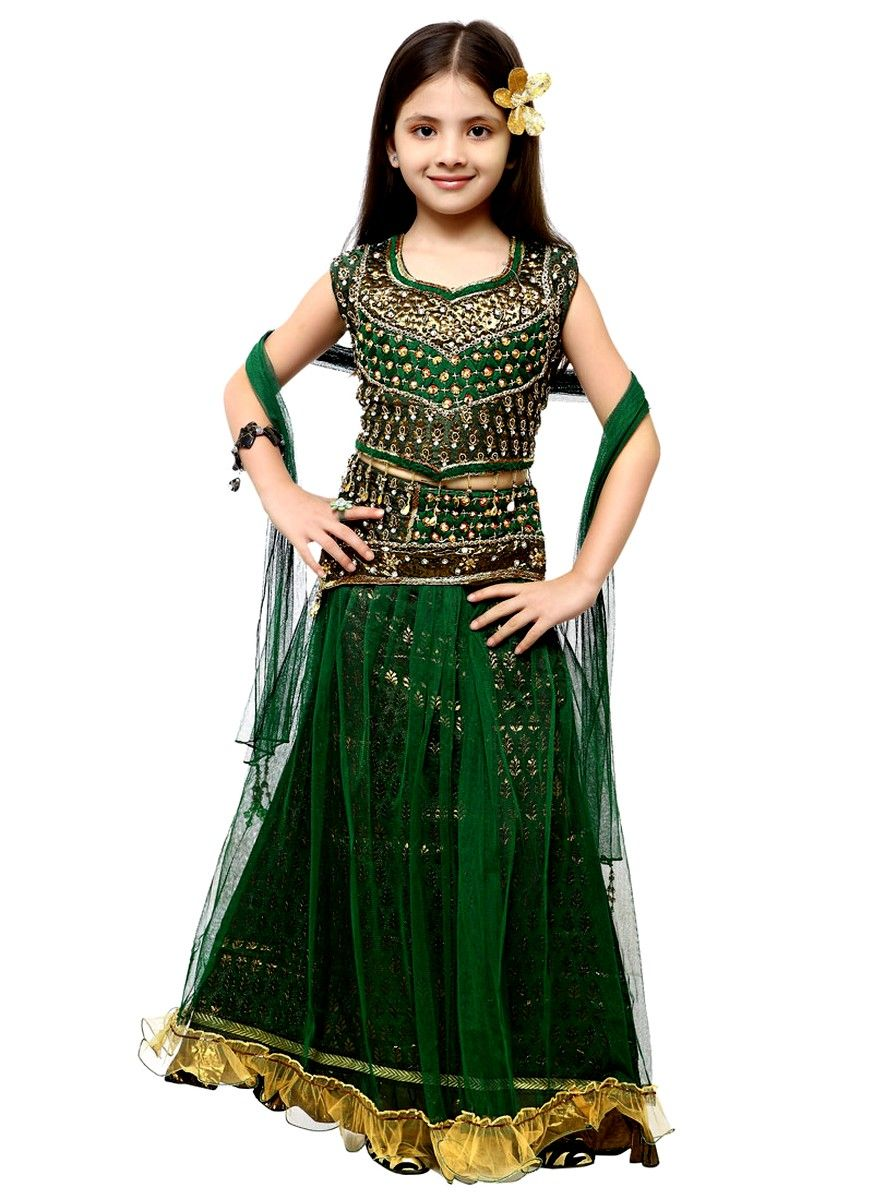 faec4ee59b Explore Authentic Indian sarees online sale on Madhurya! Green color  embroidered lehenga choli for kids, made of Net fabric. Price :-