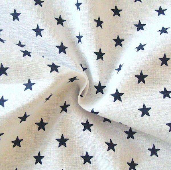 Baumwollstoff Sterne - weiß blau