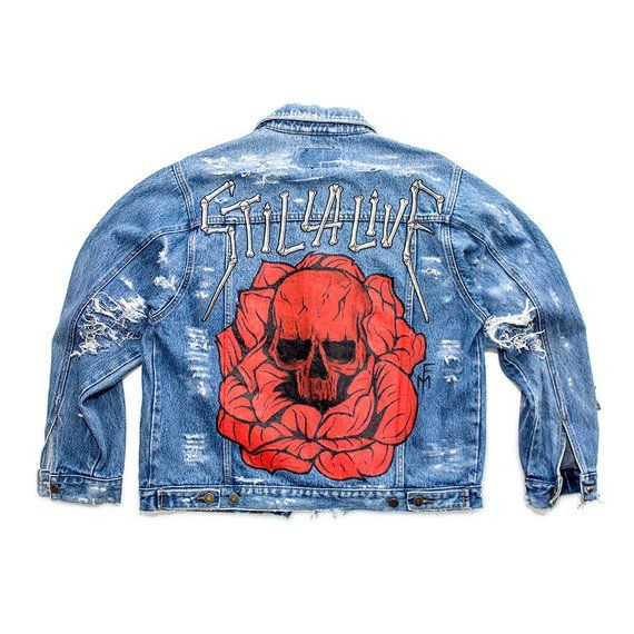 Custom Jeans Jacket Skull N Roses 1 Of 1 Hand Painted Denim