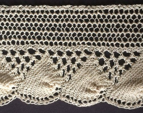 Sea Shell Lace from The Ladies' Guide to Elegant Lace Patterns, 1884 ~~ Wide knitted shell lace with eyelet triangles