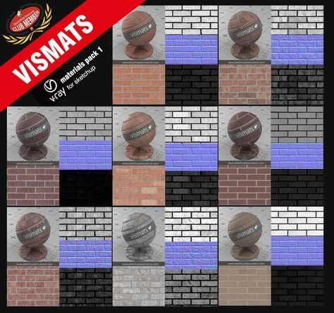 Vray Materials Bricks Vismats For Sketchup And Rhino Collection Pack 1 For Club Members Complete With Maps Brick Cladding Brick Packing