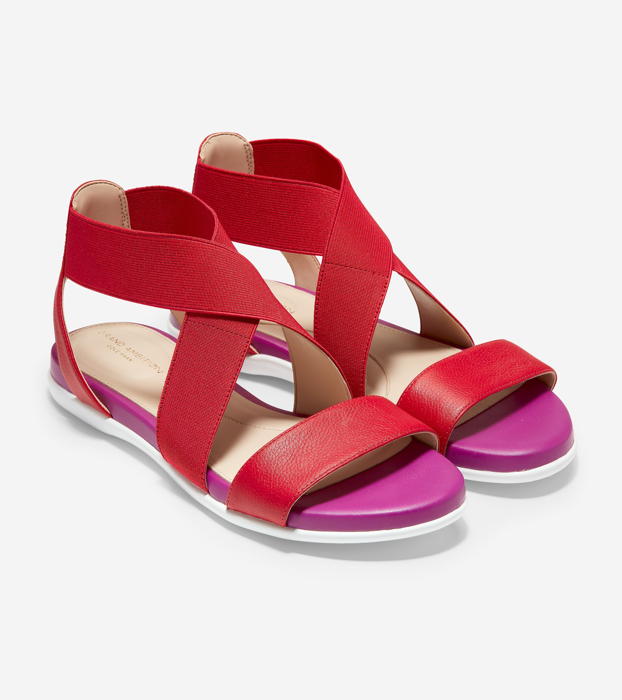 Women S Grand Ambition Elastic Sandal In Tango Leather Fuschia Leather In 2020 Elastic Sandals Elastic Sandals Woman Leather