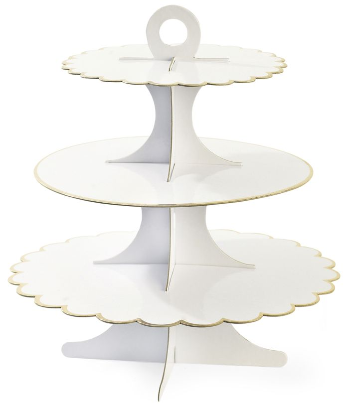 edler 3 stufiger cupcake etagere aus pappe in wei mit goldenem rand f r cupcakes muffins und. Black Bedroom Furniture Sets. Home Design Ideas