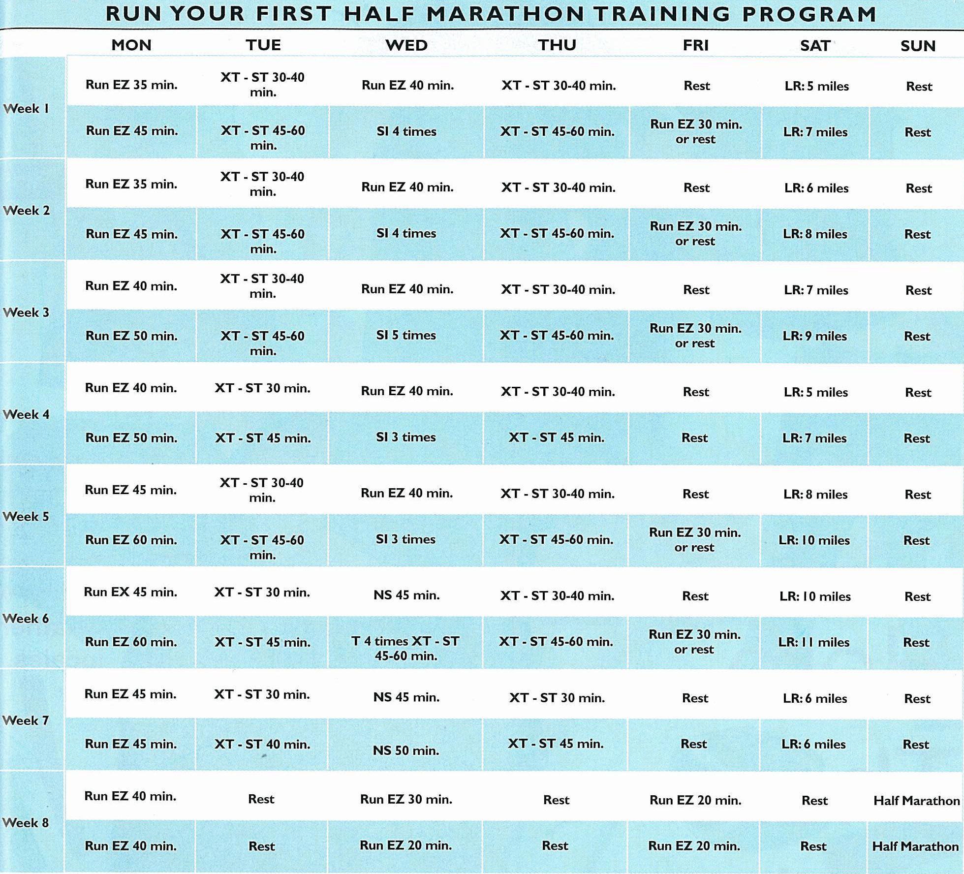 HalfMarathonTrainingScheduleJpg   Exercise