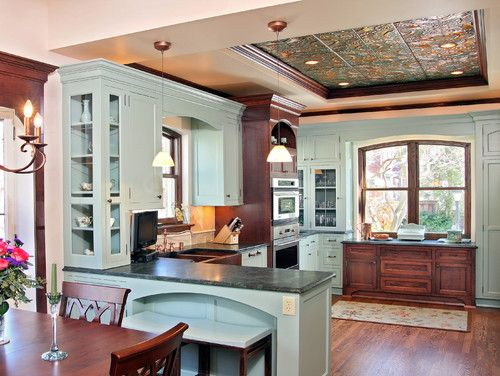 Historical kitchen remodel with tin ceiling and custom cabinetry