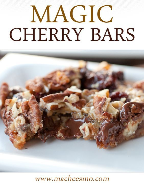 Chocolate Cherry Bars with Pecans ~ Macheesmo -   19 desserts Bars dads ideas