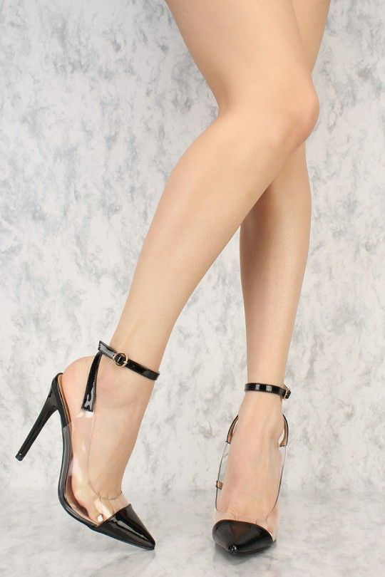 0721a383d13 Black Clear Accent Pointy Toe Single Sole High Heels Patent Faux ...