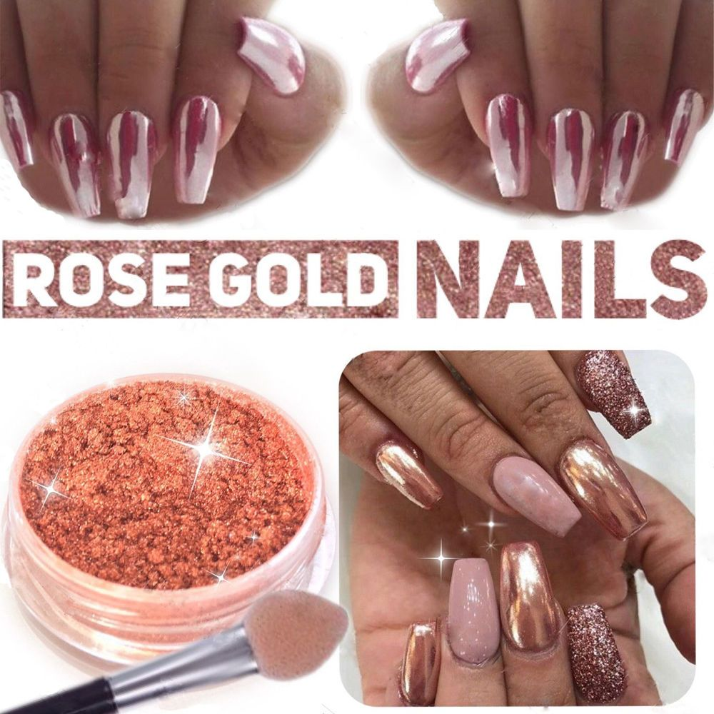 SALE MIRROR POWDER CHROME EFFECT Pigment NAILS Rose Gold Silver Nail ...
