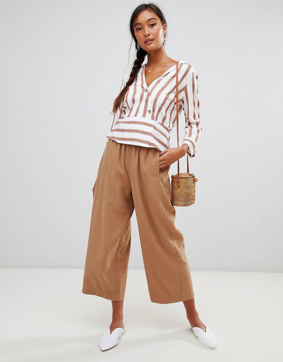 1c1a94087b2b6f Miss Selfridge cropped wide leg pants in camel in 2019 | s t y l e ...