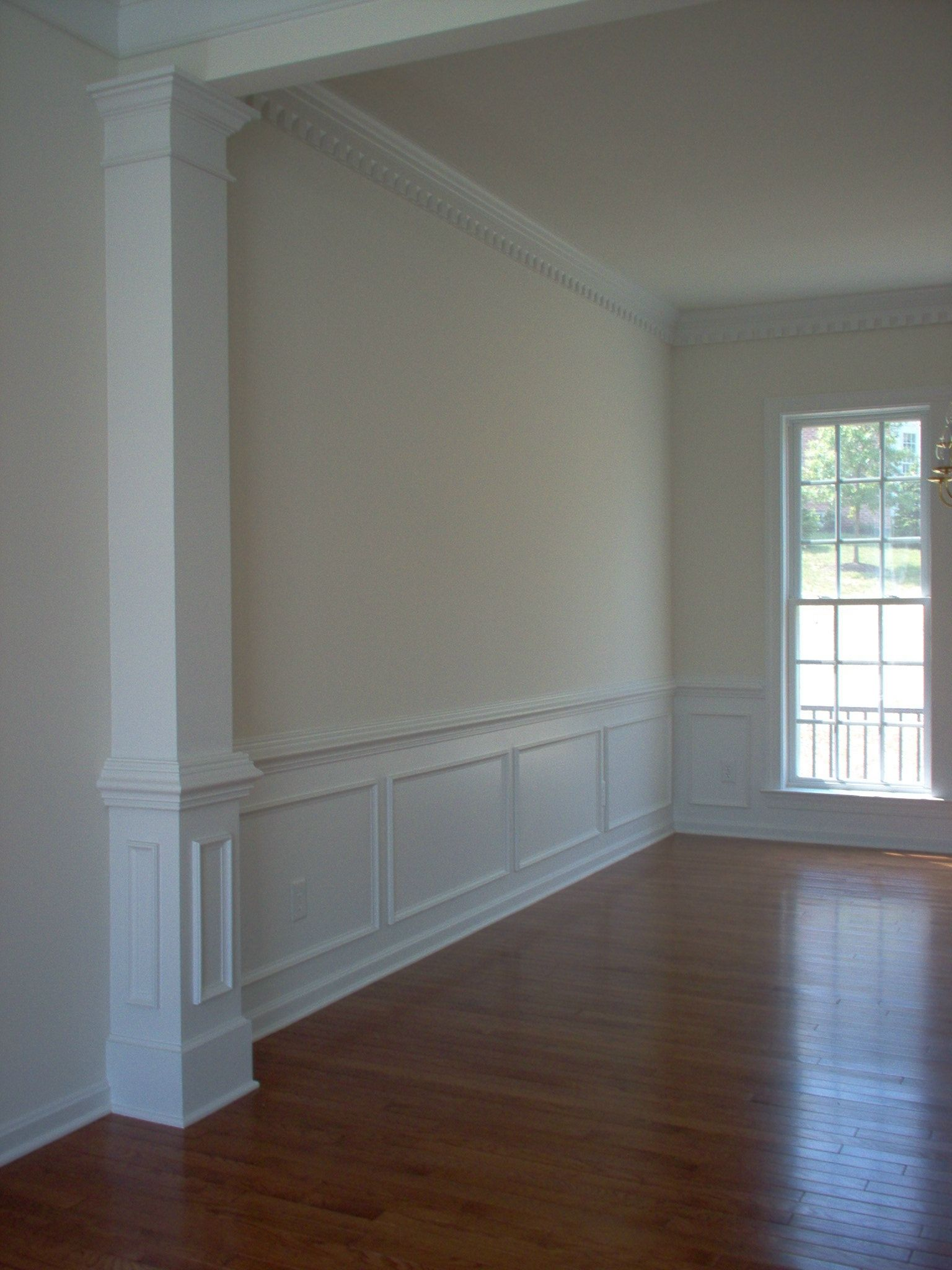Pilaster room divider separate our long sitting dining - Dining room living room separation ...