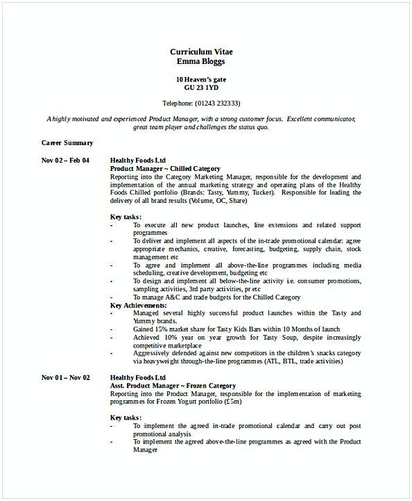 Product Marketing Manager Resume 1 , Resume for Manager Position ...