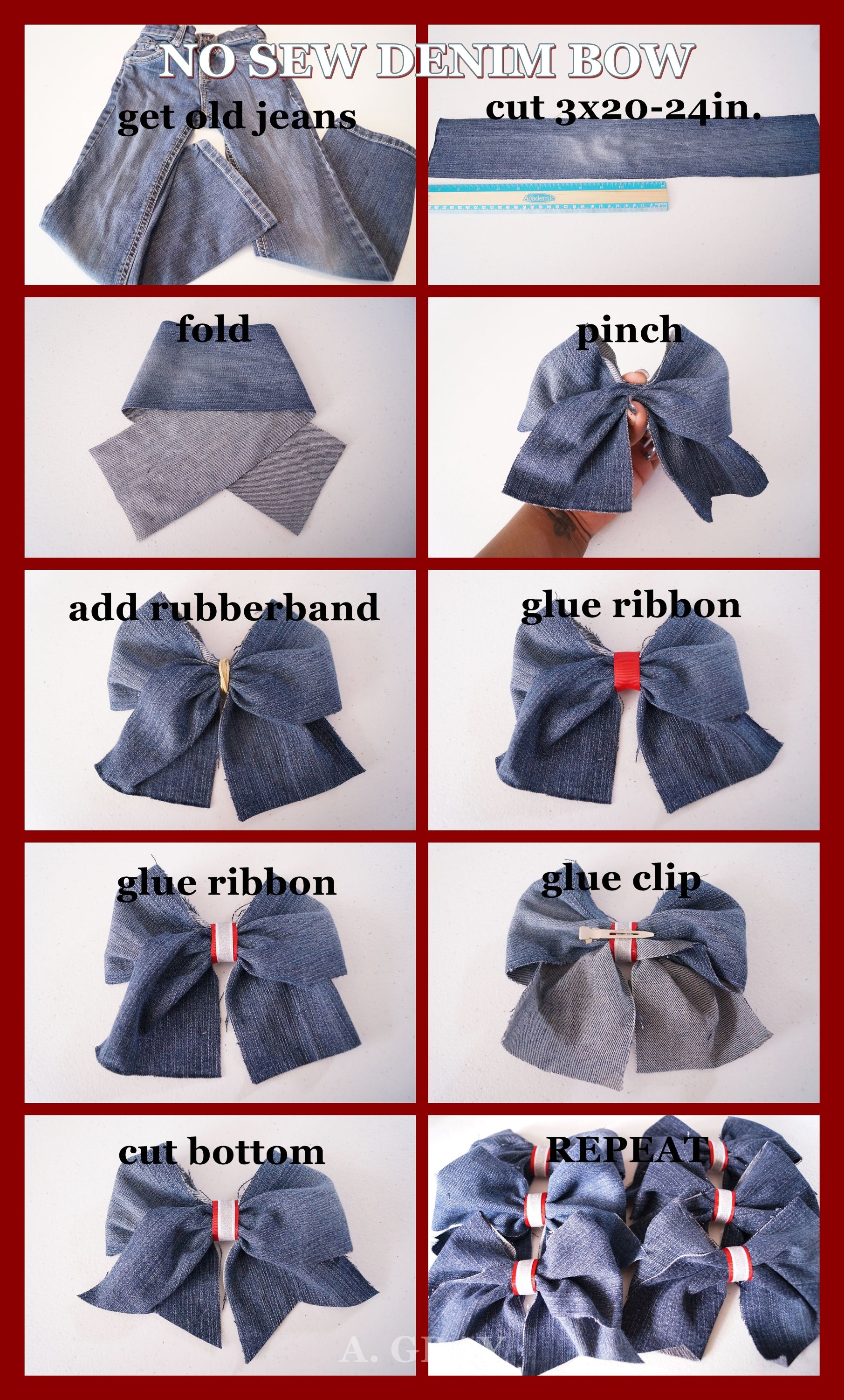 DIY EASY no-sew DENIM CHEER BOW Like our page https://www.facebook ...
