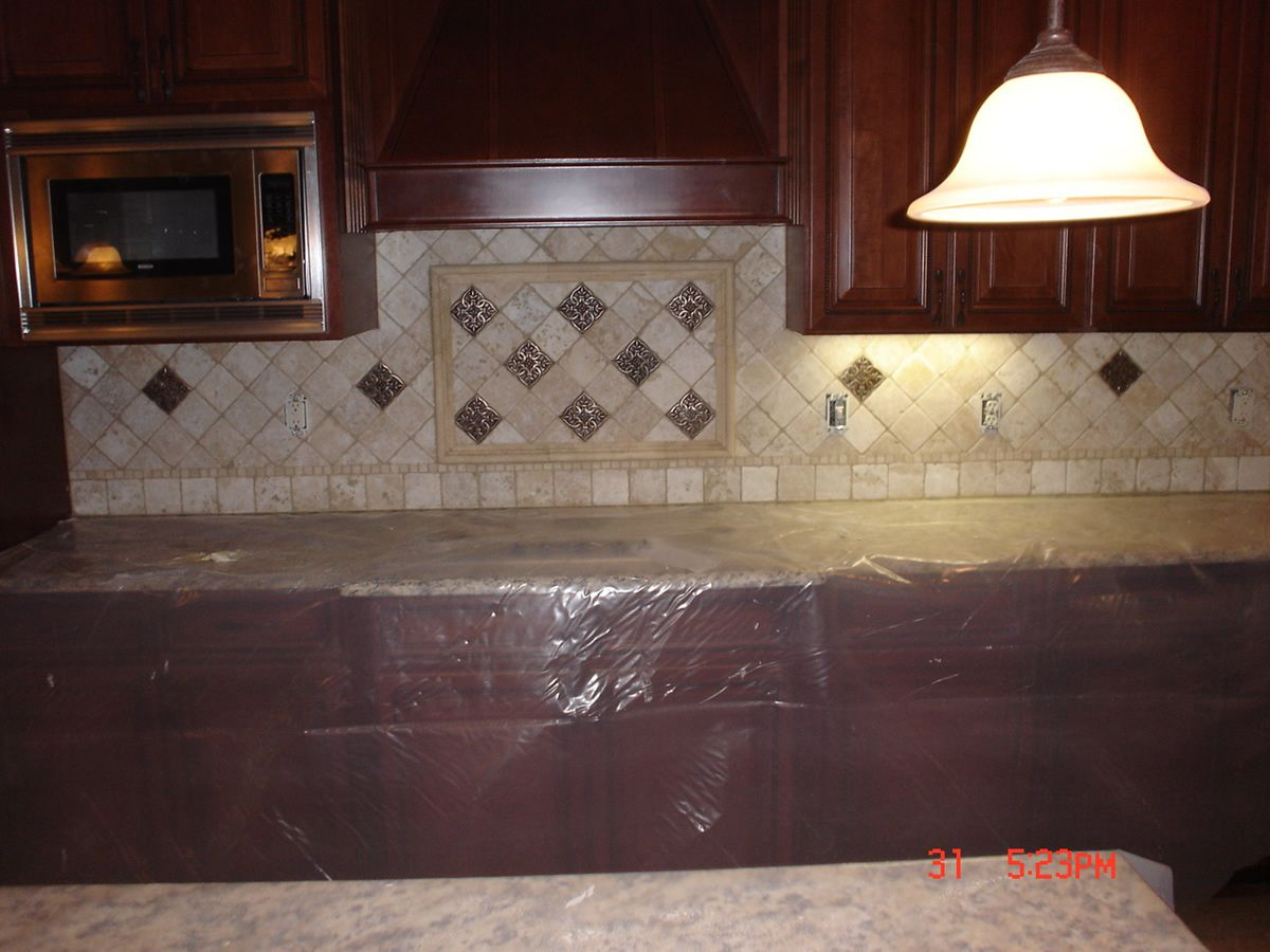 An Elegant Kitchen Backsplash Photos:Atlanta Kitchen Tile Backsplashes  Metal Accent Tile Kitchen Backsplash Photos Design.