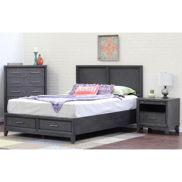 Ligna Usa Chelsea Gray Wash Queen Storage Bed Modern Bedroom