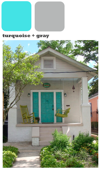 Gray House Turquoise Door For A Pop I Love It