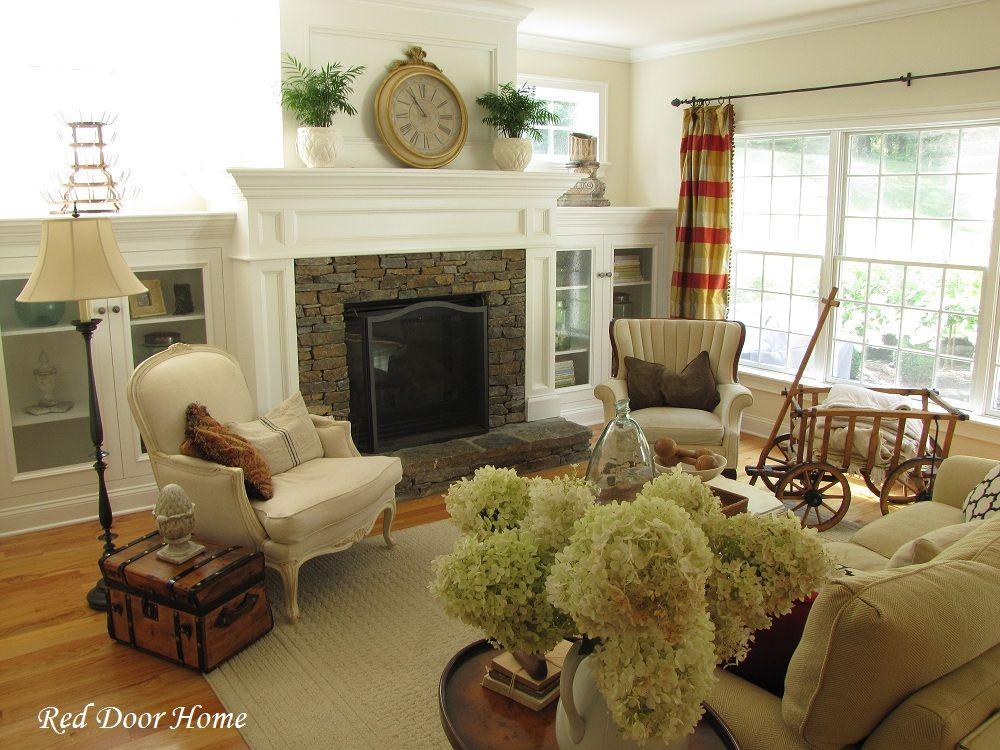 Fireplace With Cabinets On Each Side