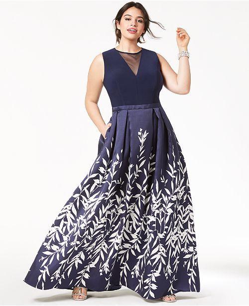 7e08af18a131c Morgan & Company Trendy Plus Size Printed A-Line Gown & Reviews -