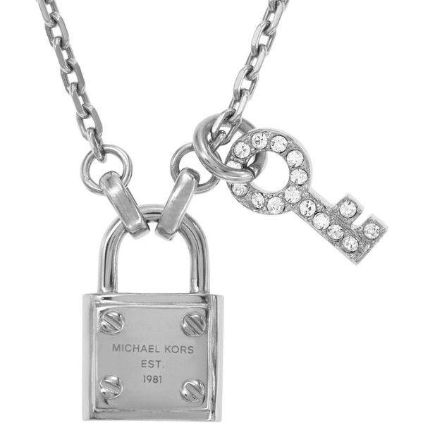 MICHAEL KORS Silver-Tone Lock & Key Pendant Necklace