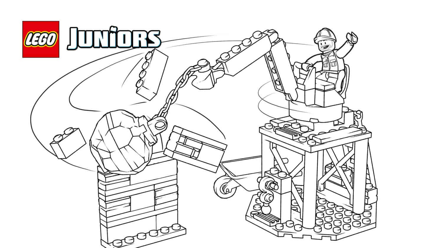 Free printable bulldozer truck coloring page as seen in the LEGO Juniors Demolition set