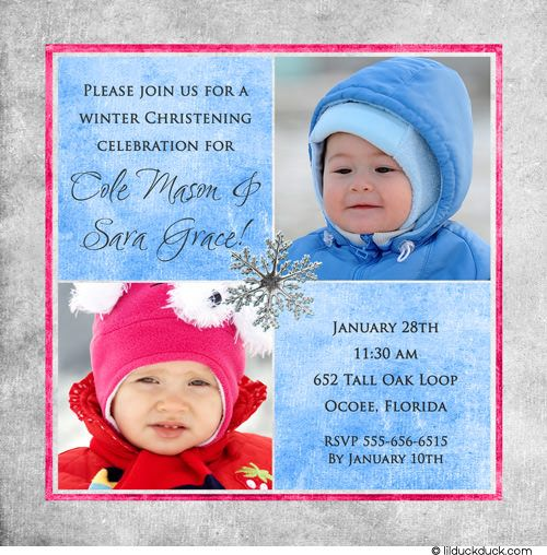 cda114fc0c84e378801ffb3901bb14d1 winter twins christening invitation boy &amp girl photo snowflake,Christening Invitations Twins