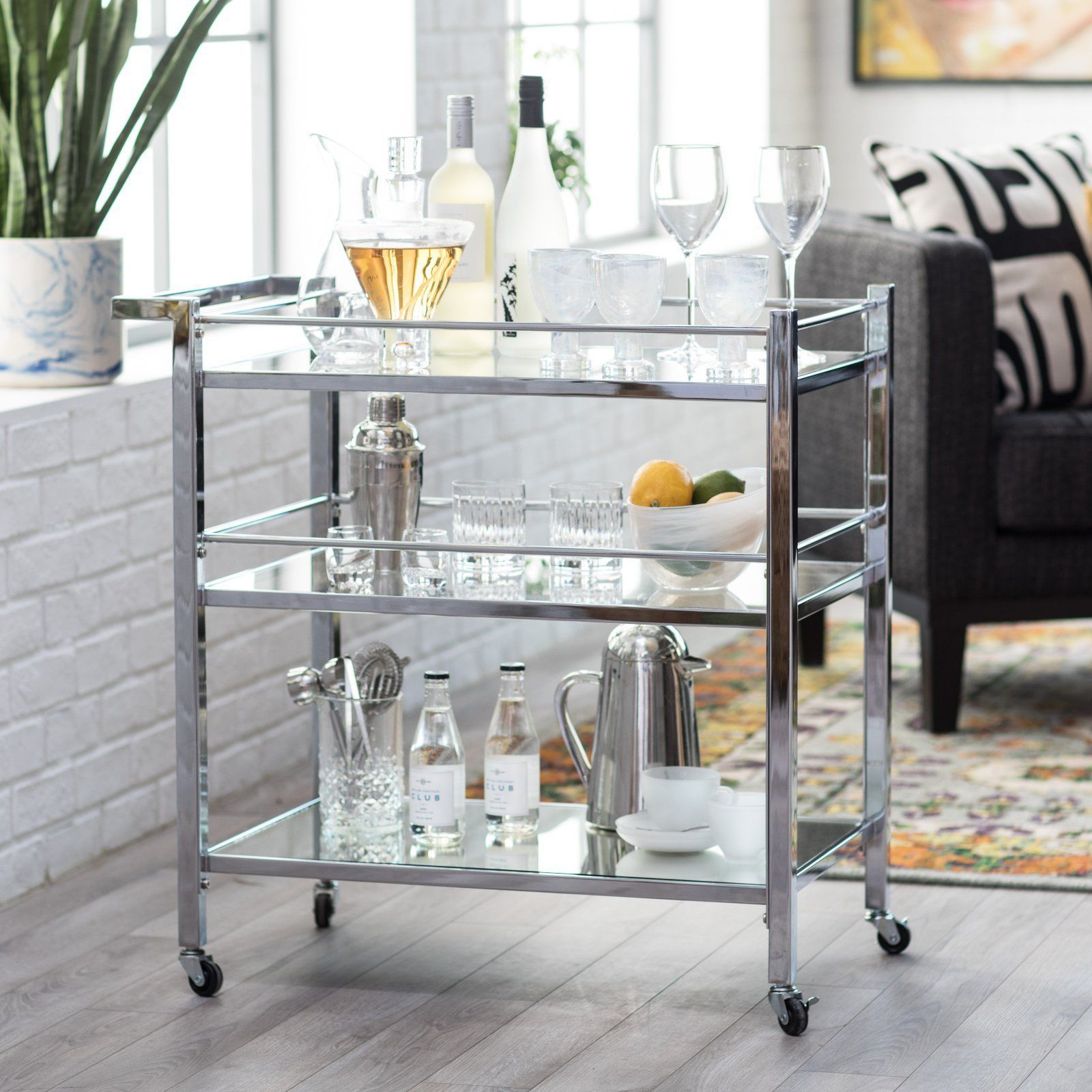 Modern Glam Silver Metal Glass Serving Cart Buffet Server Mobile Bar Cart 766894623458 Ebay Bar Furniture Wine Furniture Bar Cart Decor
