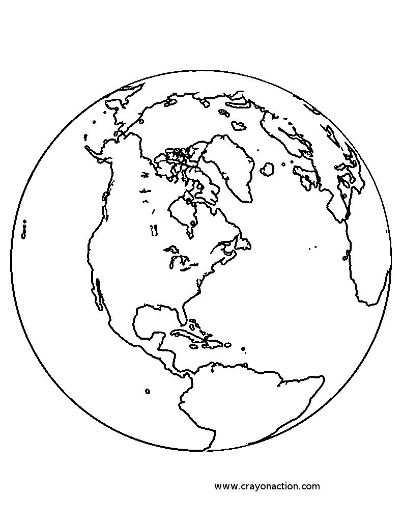 Printable planet earth globe coloring page | kidscare | Pinterest ...