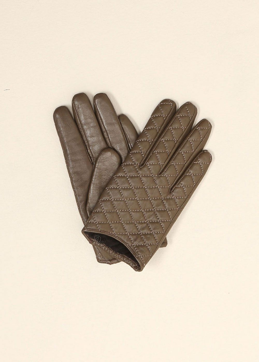 lookbym - Quilted Leather Gloves Ash