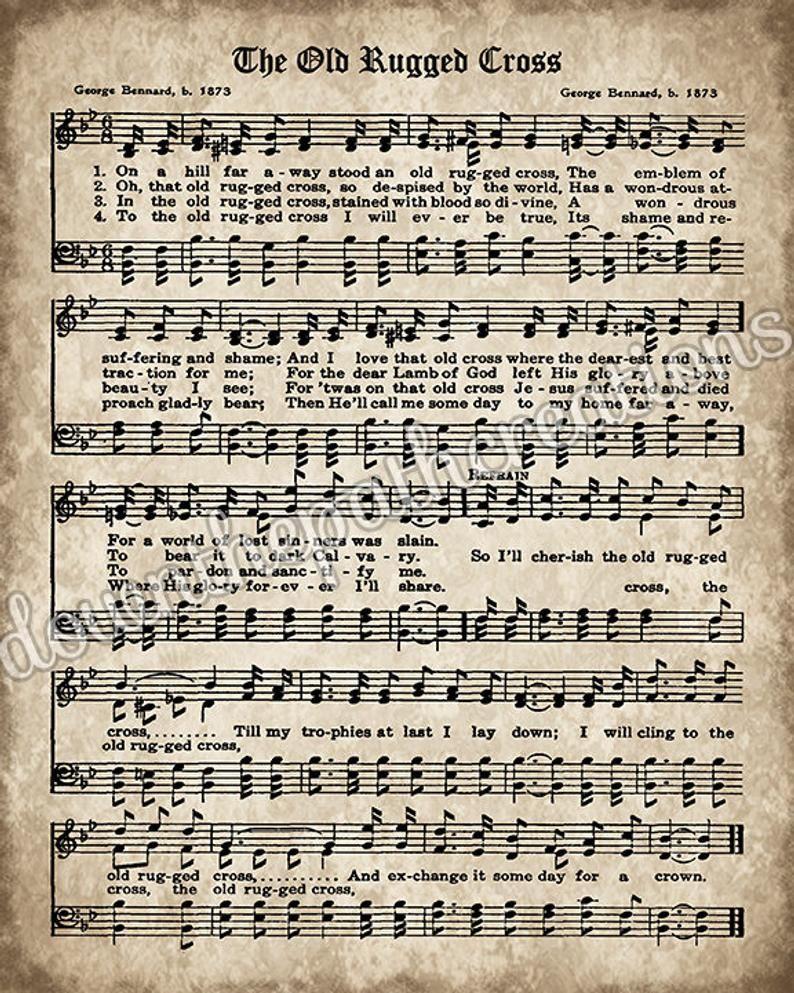 Old Hymn Print Set of 5, Printable Vintage Sheet Music, Amazing Grace, Old Rugged Cross, Instant Download, Inspirational, Christian Art, PDF #vintagesheetmusic