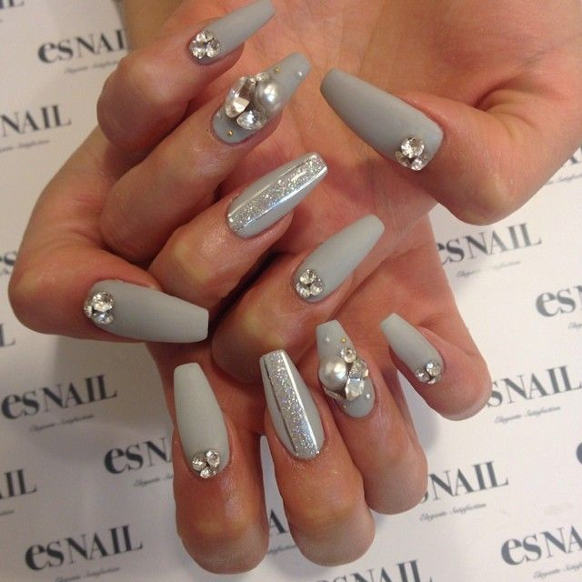 Matte gray with Swarovski nails by Kiko_mikiko   grey nail art ...