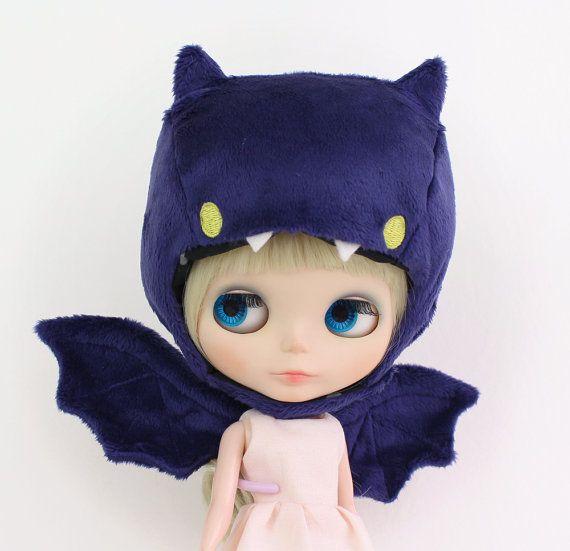 Purple Bat cute plushie style hat wings set by DreamForestDolls