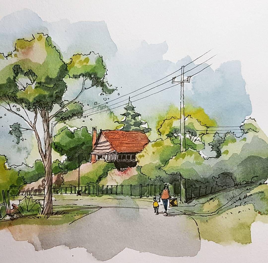 Cute House By Miguel Ramirez Watercolor Architecture Landscape