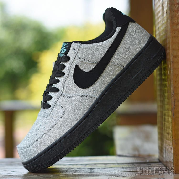 NIKE AIR FORCE 1 07 LV8 DIAMOND QUEST METALLIC SILVER BLACK AQUA 718152 005  $ 150